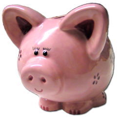 pink piggy bank, commissioned, painted by Barefoot Ceramics