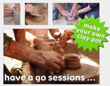 workshops pictures showing throwing clay to make pottery on a potters wheel